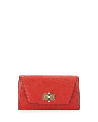 440 Gallery Uptown Ostrich-Embossed Clutch Bag, Rust