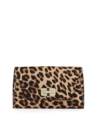 440 Gallery Uptown Calf Hair Clutch Bag, Leopard