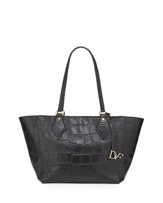 Voyage Croc-Embossed East-West Tote Bag, Black