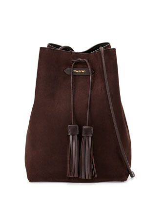 Suede Double-Tassel Medium Bucket Bag, Dark Brown