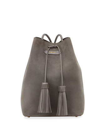 Suede Double-Tassel Medium Bucket Bag, Dark Gray