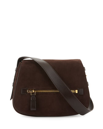 Jennifer Medium Suede Shoulder Bag, Dark Brown