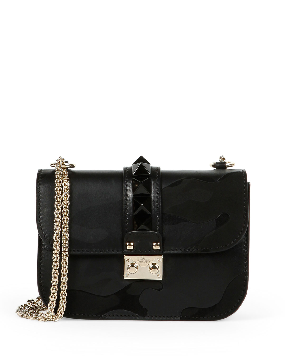 Lock Camo-Embossed Small Shoulder Bag, Black - Valentino