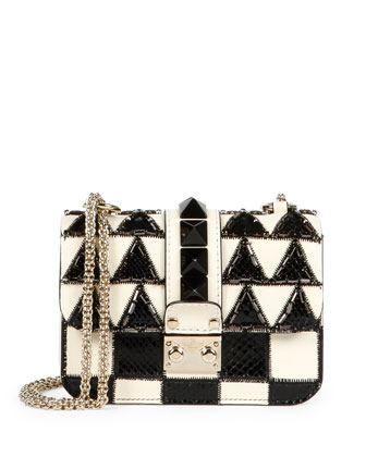 Mini Lock Beaded Checker Shoulder Bag, Black/Ivory