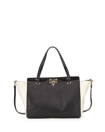 Rockstud Medium Bicolor Tote Bag, Black/Ivory