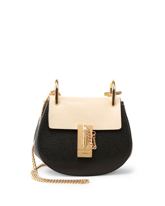 Drew Mini Colorblock Shoulder Bag, Black/Nude