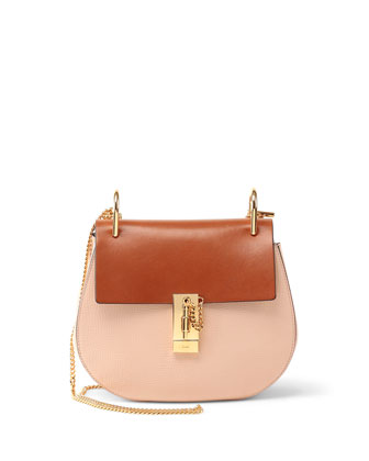 Drew Mini Colorblock Shoulder Bag, Beige/Caramel