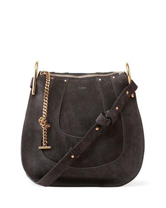 Hayley Small Suede Hobo Bag, Iron Gray