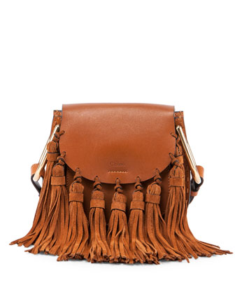Hudson Mini Fringe Shoulder Bag, Caramel