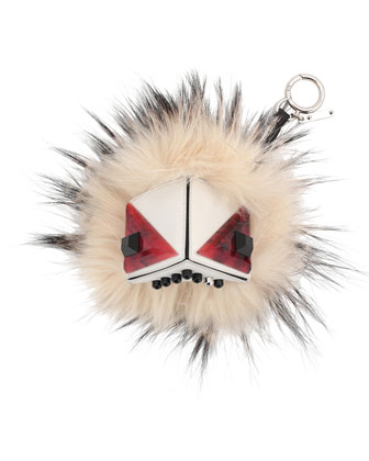 Prism Triangle Monster Fur Purse Charm, White Multi