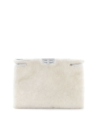 Peekaboo Shearling Fur Clutch Bag, White