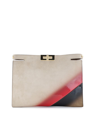 Peekaboo Marquetry Clutch Bag, Multi