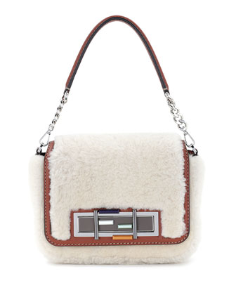 Baguette Shearling Fur Shoulder Bag