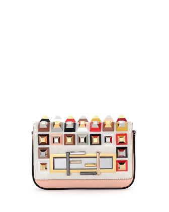 Baguette Mini Studded Fur Crossbody Bag, White Multi