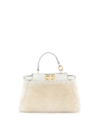 Peekaboo Micro Shearling Fur Satchel Bag, White