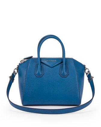 Antigona Small Sugar Satchel Bag, Blue