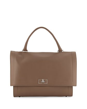 Shark Medium Waxy Satchel Bag, Sand