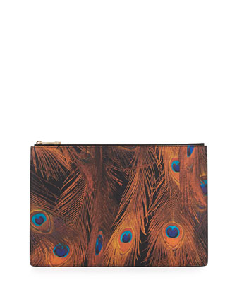 Peacock-Print Large Zip Pouch