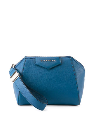 Antigona Leather Wristlet Bag, Blue