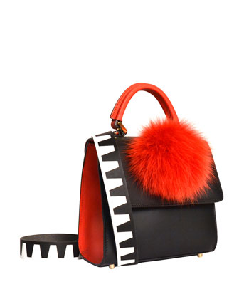 Alex Mini Tweed Fur-Pom Bag, Black/Red