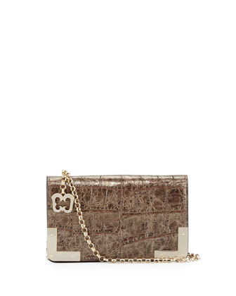 Cassidy Croc-Embossed Clutch Bag, Pewter