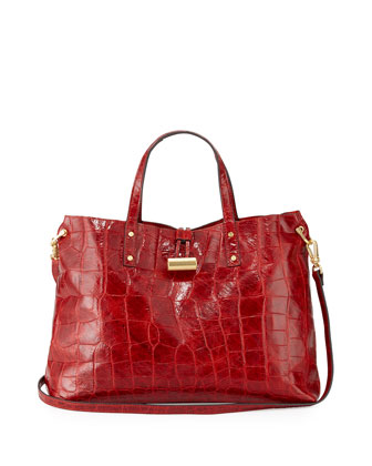 Cheri Croc-Embossed Tote Bag, Red
