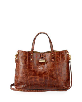 Cheri Croc-Embossed Tote Bag, Burnt