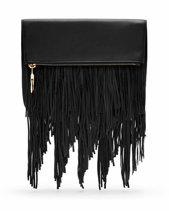 Andrew Fold-Over Fringe Clutch Bag, Black