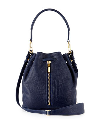 Cynnie Mini Large-Grain Bucket Bag, Dark Denim