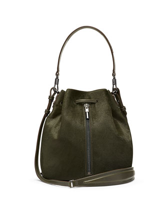 Cynnie Calf Hair Bucket Bag, Deep Olive