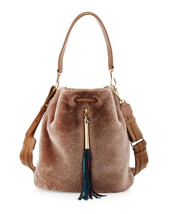 Cynnie Shearling Fur Bucket Bag, Stone