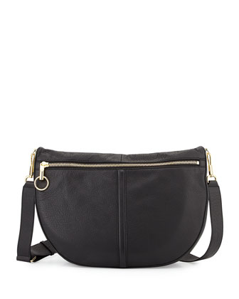 Scott Leather Half-Moon Shoulder Bag, Black