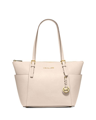 Jet Set Top-Zip Saffiano Tote Bag, Ecru
