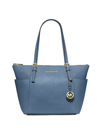 Jet Set Top-Zip Saffiano Tote Bag, Cornflower