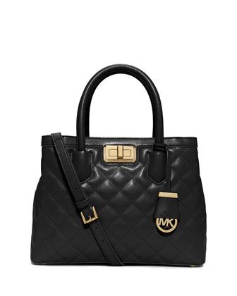 Hannah Medium Quilted Satchel Bag, Black