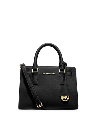Dillon Saffiano Small Satchel Bag, Black
