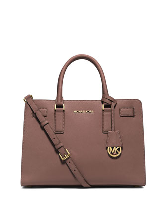 Dillon East-West Saffiano Satchel Bag, Dusty Rose