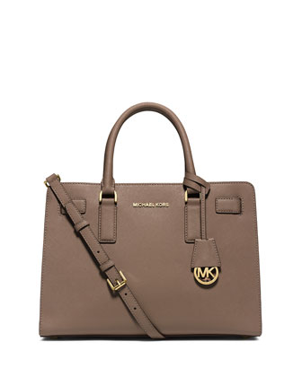 Dillon East-West Saffiano Satchel Bag, Dark Dune