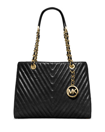 Susannah Medium Quilted Chevron Tote Bag, Black