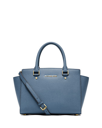 Selma Medium Top-Zip Satchel Bag, Cornflower