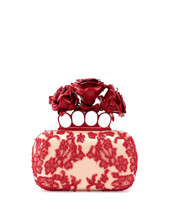 Roses Lace Knuckle Duster Box Clutch Bag, Nude/Red