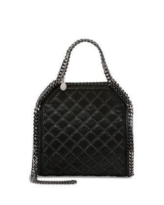 Falabella Mini Quilted Studs Tote Bag, Black