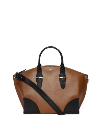 Legend Bicolor Leather Satchel Bag, Black/Brown