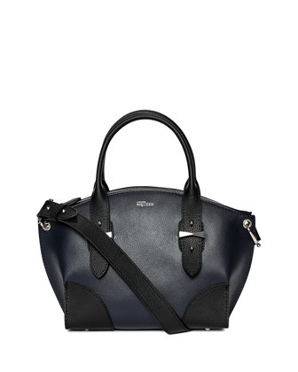 Legend Small Bicolor Satchel Bag, Navy/Black
