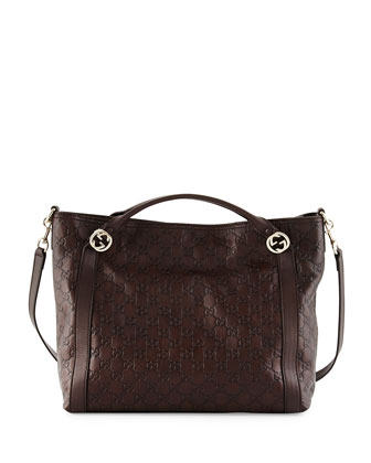 Miss Guccissima Large Top Handle Bag, Dark Brown