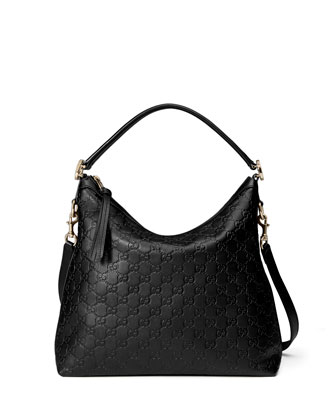 Miss GG Small Guccissima Leather Hobo Bag, Black