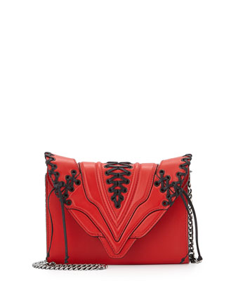 Felina Mignon Laced Sensua Shoulder Bag, Scarlet/Black Lace