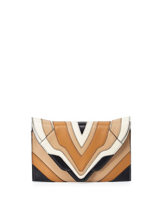 Selina Rainbow Clutch Bag, Black/Cappuccino