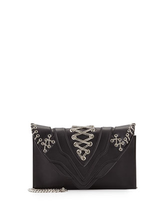 Selina Fetish Chain Crossbody Bag, Black