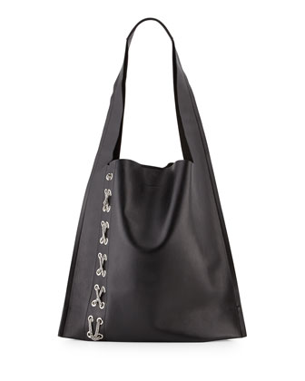 Estia Fetish Chain-Laced Hobo Bag, Black